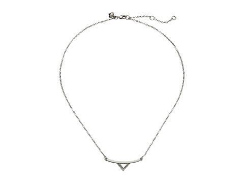 Rebecca Minkoff - V Bar Necklace (Imitation Rhodium/Crystal) Necklace