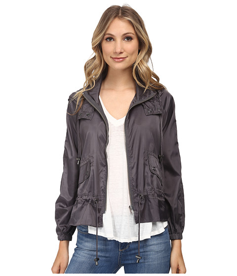 Free People - Ripstop Nylon Tech Parachute Jacket (Charcoal) Women's Coat