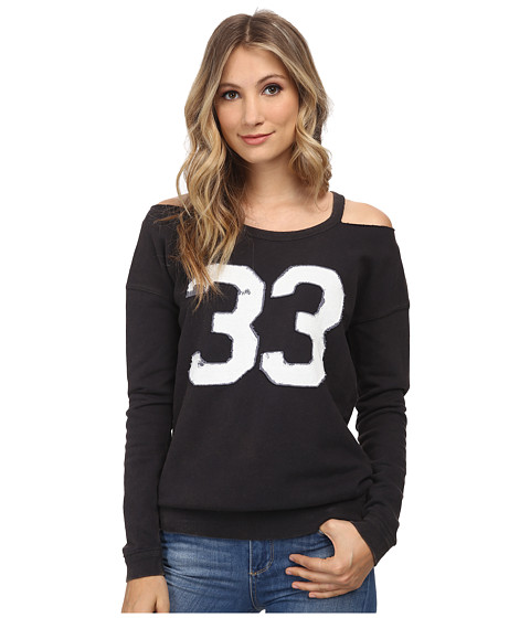 Free People - French Terry Stadium Sweatshirt (Washed Black) Women