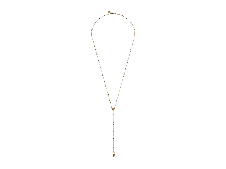 Rebecca Minkoff - Beaded Y Necklace (Gold Toned/Crystal) Necklace