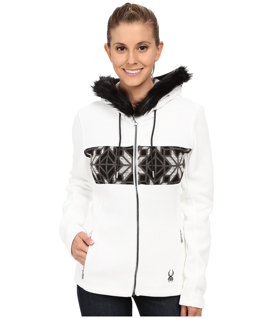 Spyder - Soiree Hoodie Faux Fur Mid Weight Core Sweater (White/Black/Image Gray) Women's Sweater