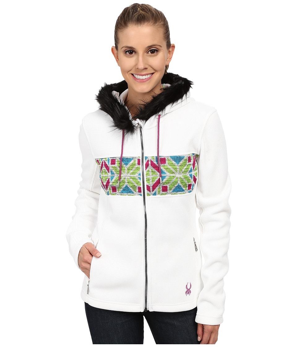 Spyder - Soiree Hoodie Faux Fur Mid Weight Core Sweater (White/Multi) Women's Sweater