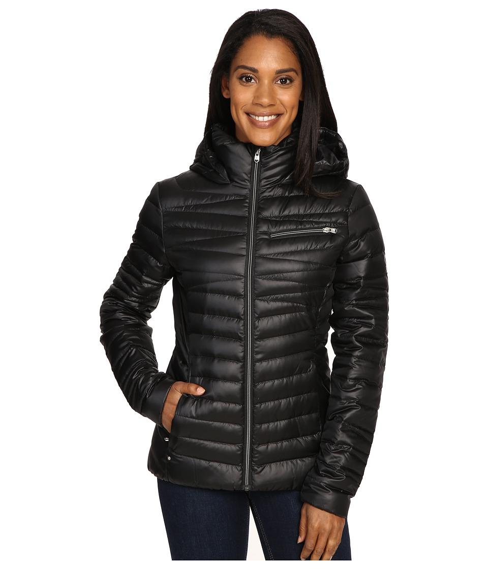 Spyder - Timeless Hoodie Down Jacket (Black/Silver) Women's Coat