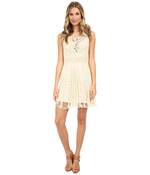 Free People - Macrame Mini Dress (Ivory Combo) Women's Dress