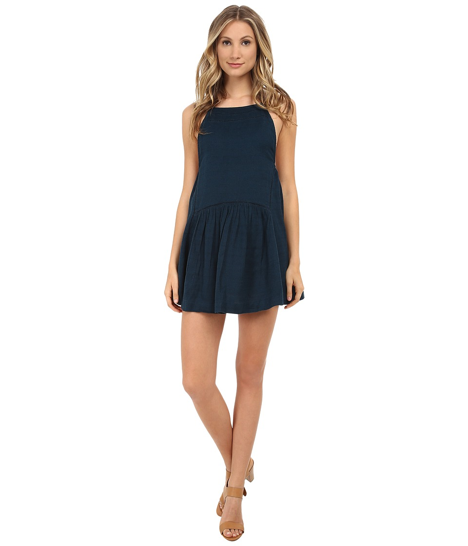 Free People - Skipping Stones Drop Waist Mini Dress (Thunder Blue) Women