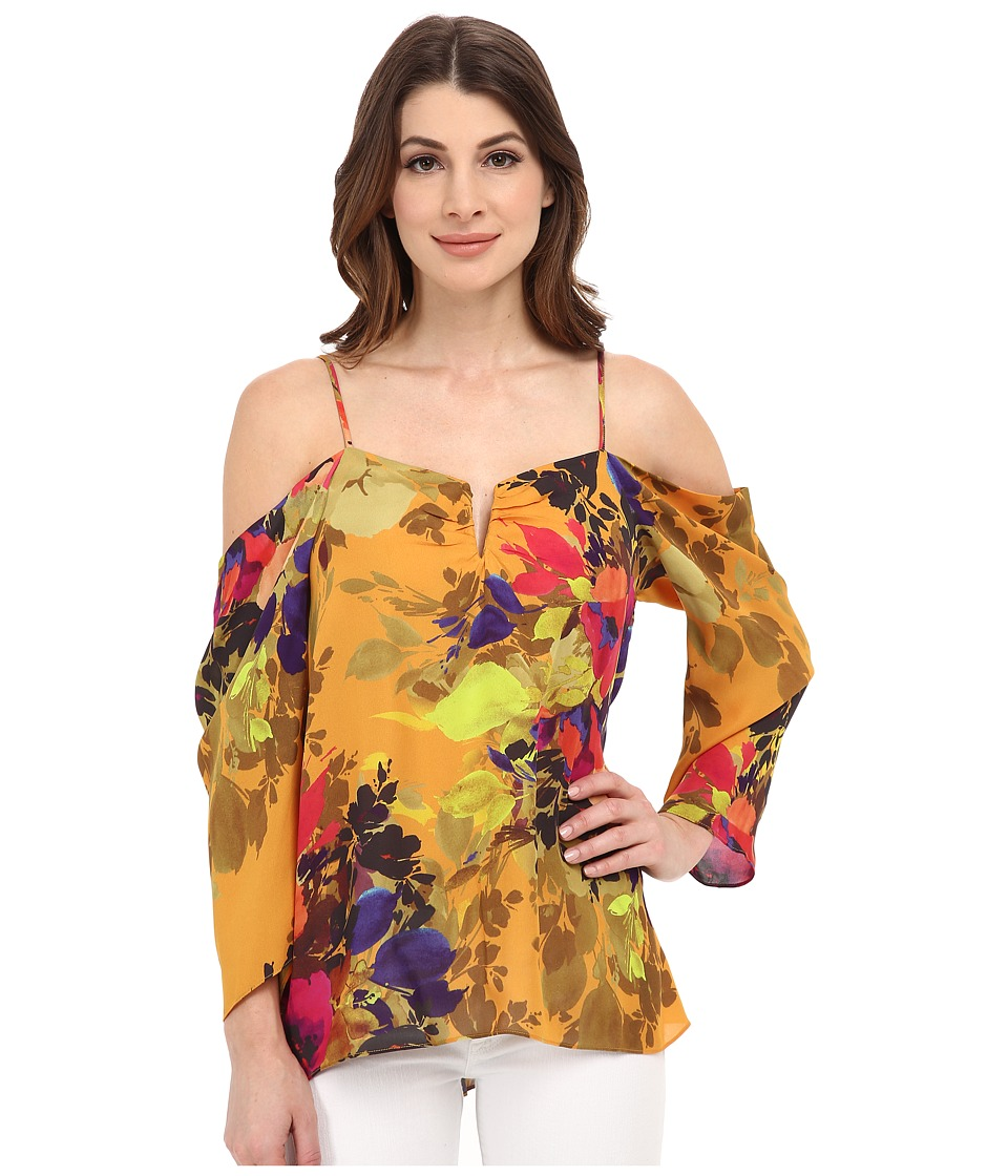 Nicole Miller - Botanic Marigold Cold Shoulder Top (Marigold) Women