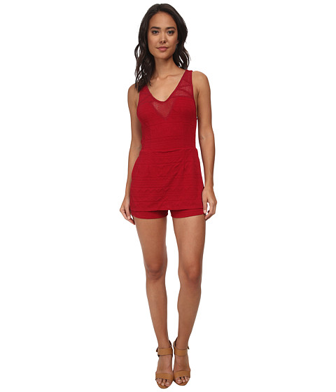 Free People - Knit Jacquard Match Point Romper (Ruby Red) Women's Jumpsuit & Rompers One Piece