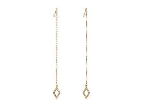 Rebecca Minkoff - Diamond Threader Earrings (Gold Toned/Crystal) Earring