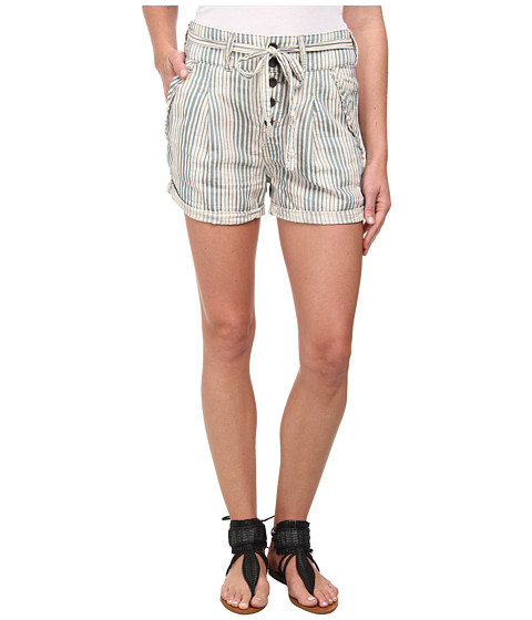 Free People - Gingham Yarn-Dyed Beachy Stripe Shorts (Cream/Teal Combo) Women's Shorts