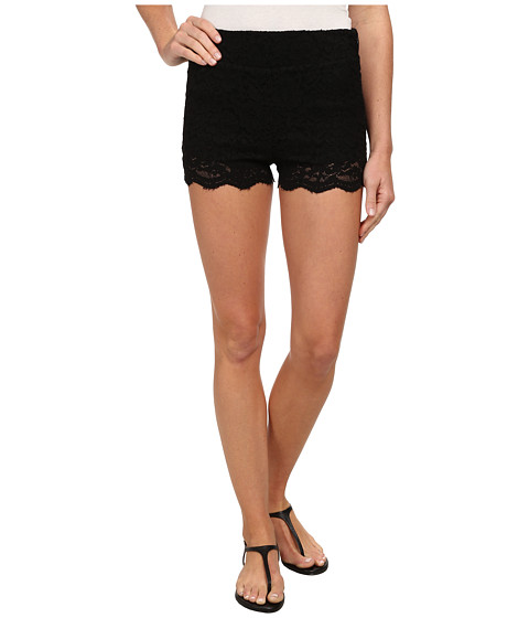 Free People - Floral Lace Biker Shorts (Black) Women
