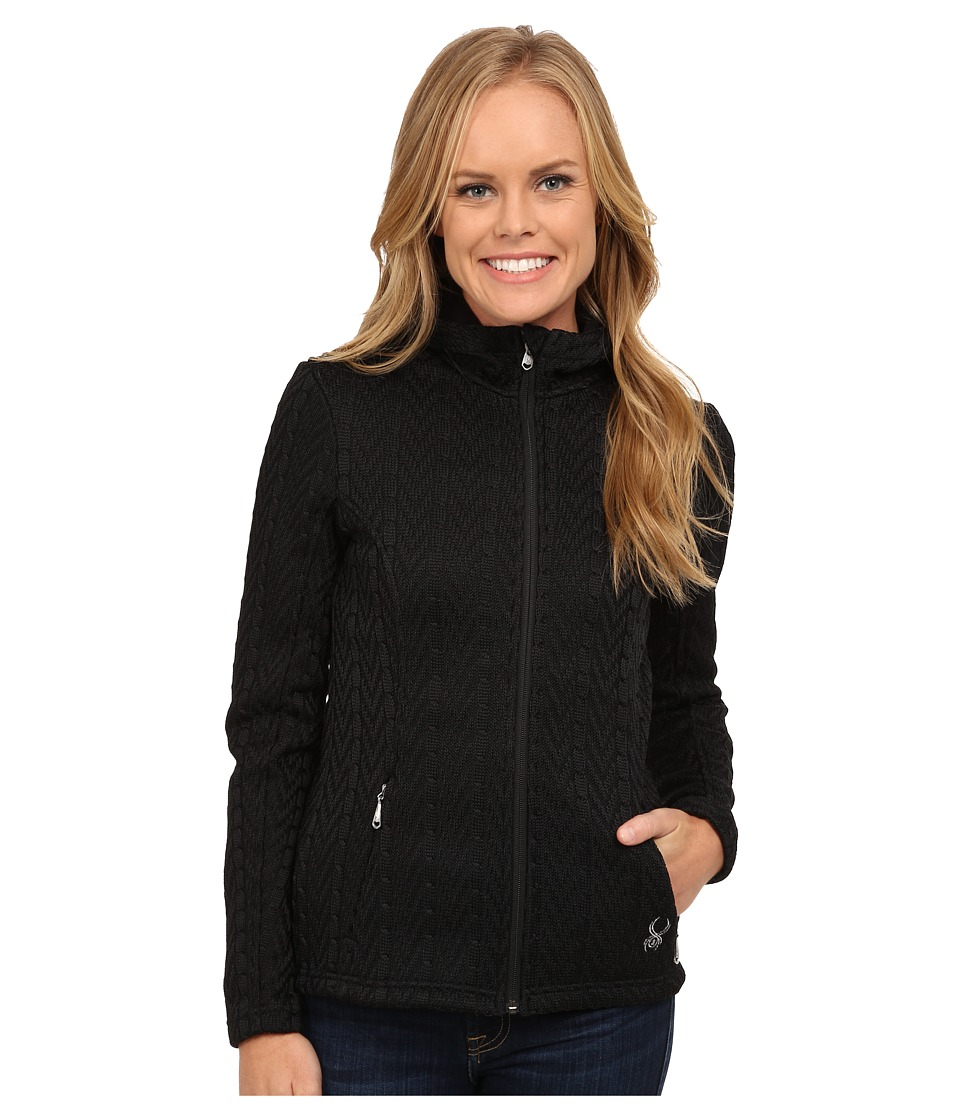 Spyder - Major Hoodie Cable Core Sweater (Black) Women's Sweatshirt