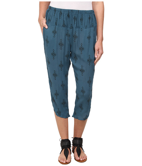 Free People - Printed Rayon Gauze Diamond Harem Pant (Teal Combo) Women's Casual Pants