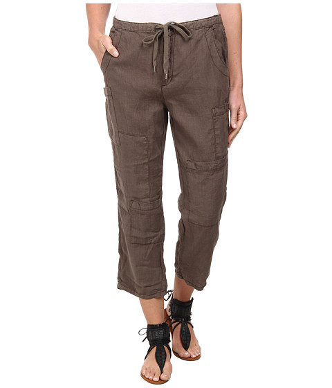 Free People - Linen Cropped Utility Pants (Army) Women's Capri