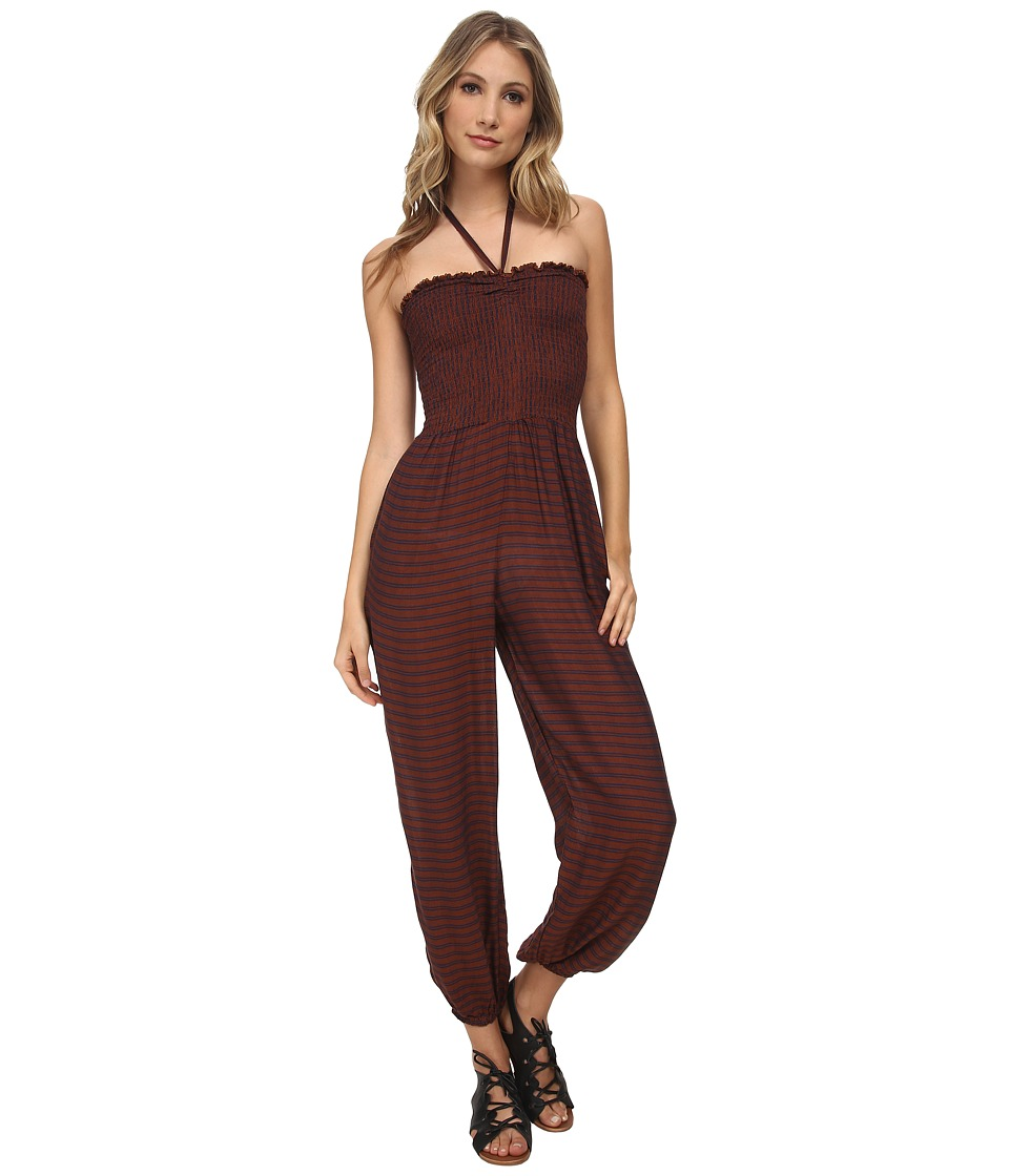 Free People - Striped Rayon Balloon One-Piece Romper (Rust Combo) Women