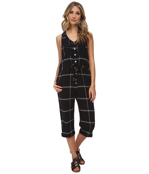 Free People - Plaid Crinkle Straight Leg One-Piece (Black Combo) Women