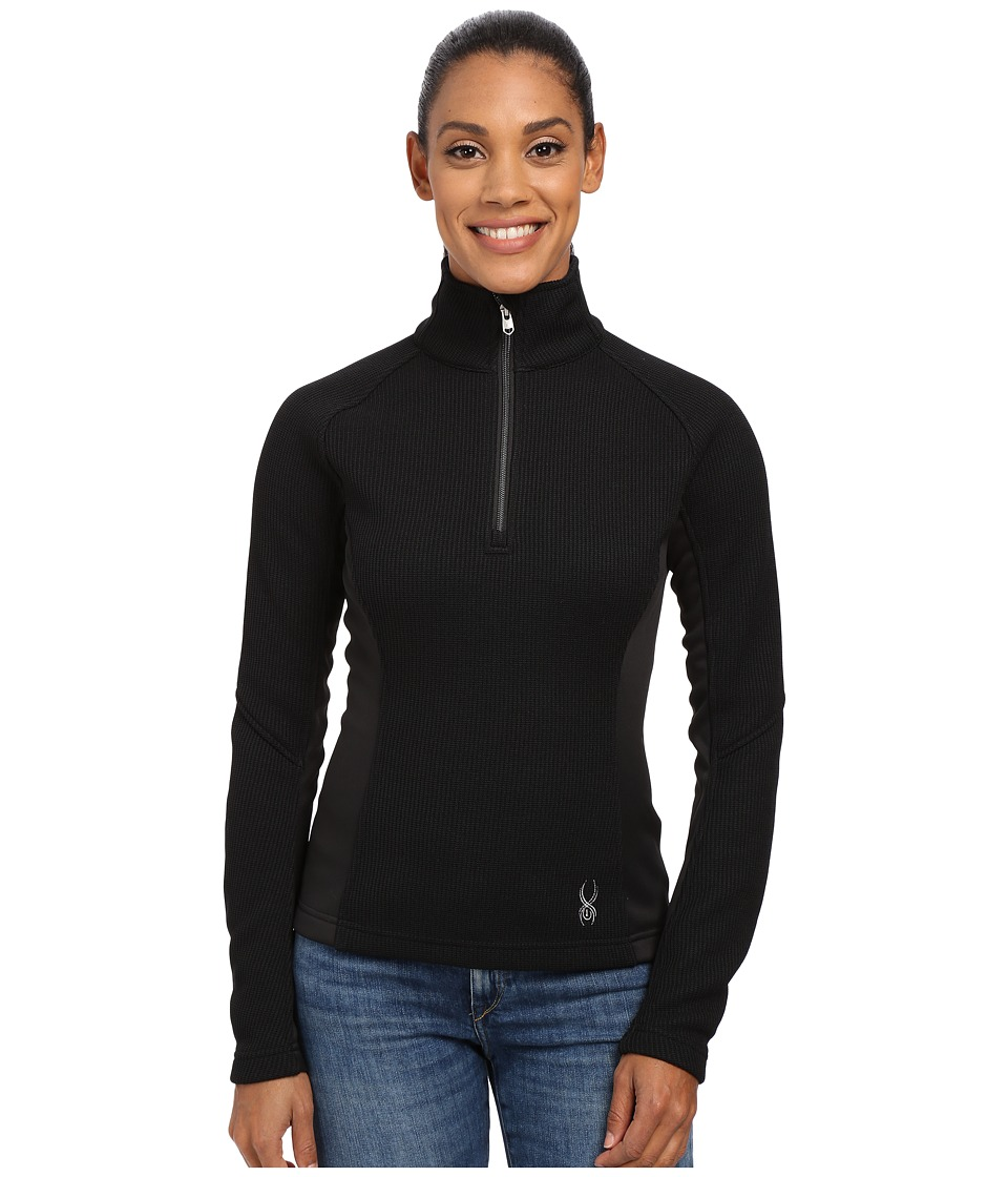 Spyder - Valor Half Zip Mid Weight Core Sweater (Black/Silver) Women