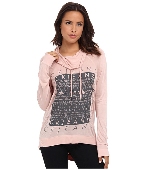 Calvin Klein Jeans - Silicone Wash Sweatshirt (Peach Whip) Women's Sweatshirt