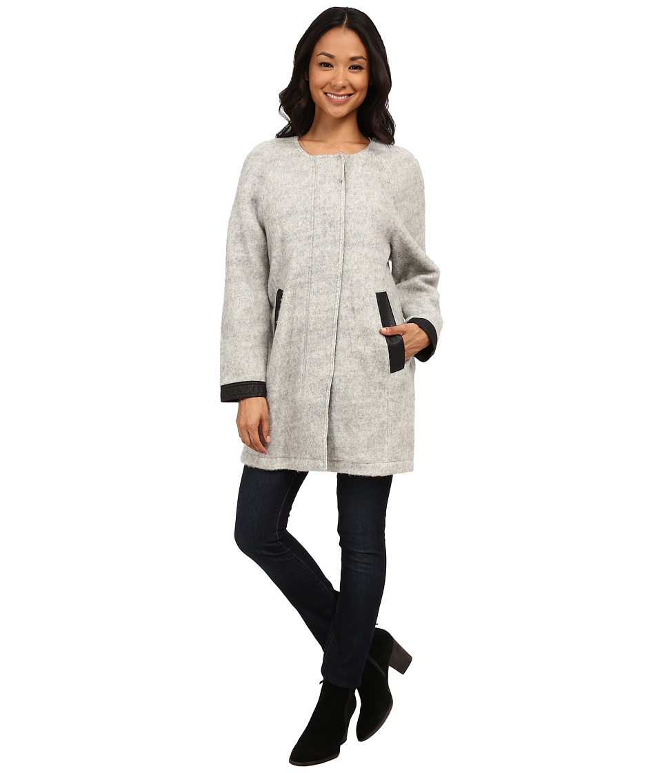 Calvin Klein Jeans - Woolly Cocoon Jacket with Perf Trim (Grey Cloud) Women
