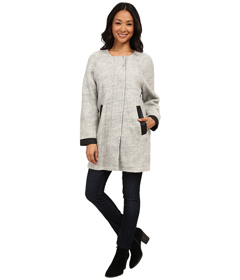 Calvin Klein Jeans - Woolly Cocoon Jacket with Perf Trim (Grey Cloud) Women's Coat