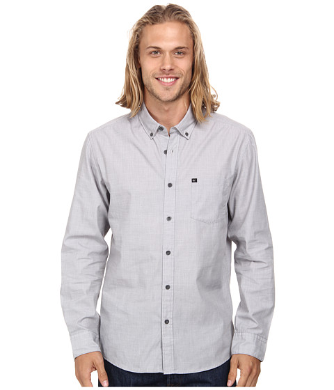 Quiksilver - Wilsden Long Sleeve Woven Top (Castlerock) Men's Clothing