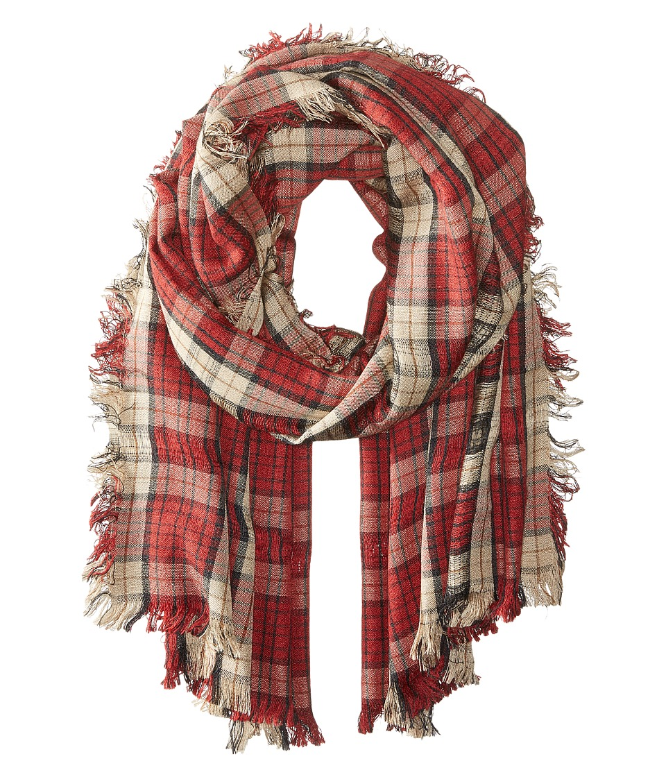 Steve Madden - Missing Check Daywrap (Red) Scarves