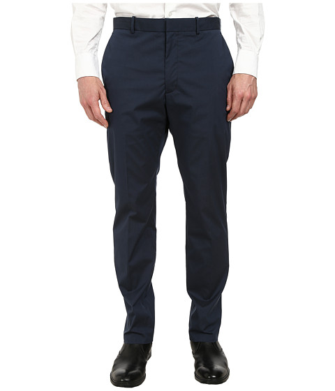Perry Ellis - Slim Fit Cotton Flat Front Dress Pants (Navy) Men