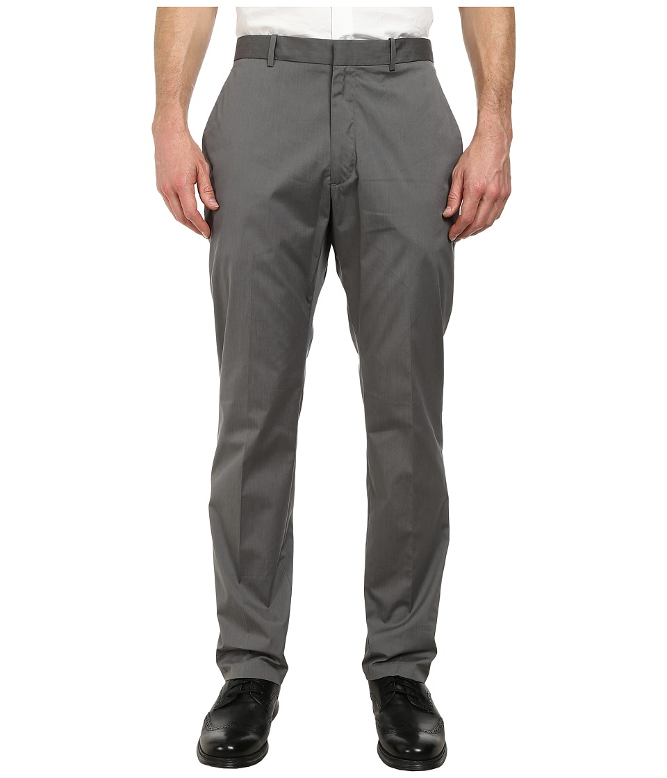 Perry Ellis - Slim Fit Cotton Flat Front Dress Pants (Alloy) Men