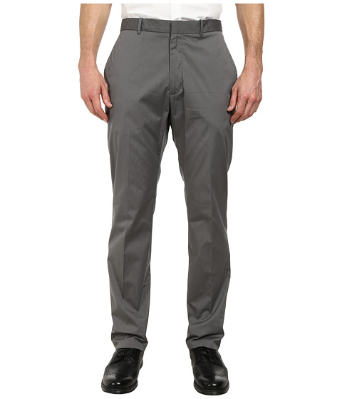 Perry Ellis - Slim Fit Cotton Flat Front Dress Pants (Alloy) Men's Dress Pants