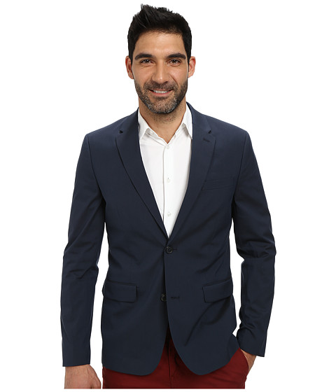 Perry Ellis - Slim Fit Cotton Suit Jacket (Navy) Men's Coat