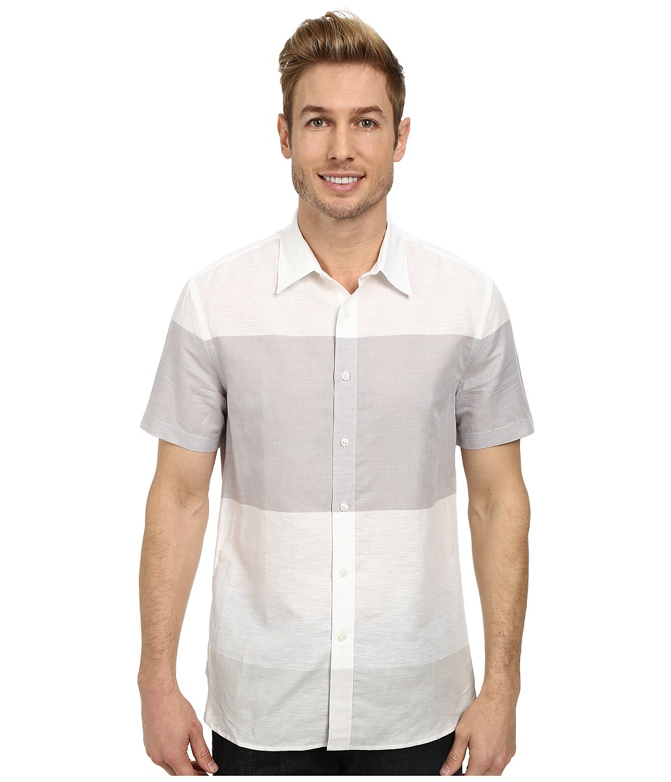 Perry Ellis - Linen Cotton Horizontal Stripe Shirt (Bright White) Men's Clothing