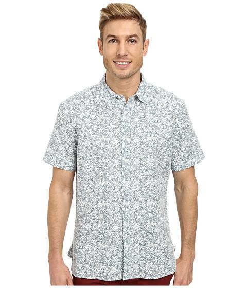 Perry Ellis - Linen Cotton Floral Pattern Shirt (Chromite) Men's Short Sleeve Button Up