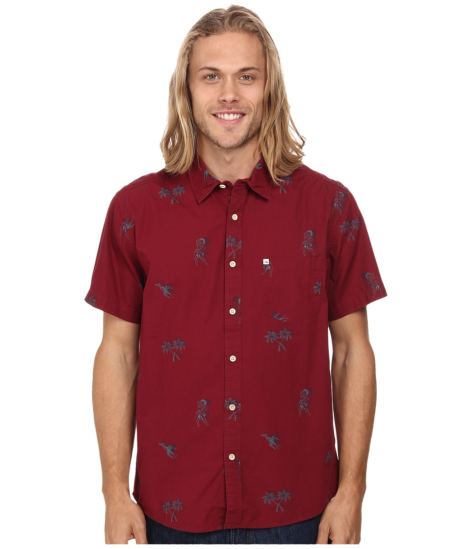 Quiksilver - Waterhead Short Sleeve Woven Top (Waterhead Cabernet) Men