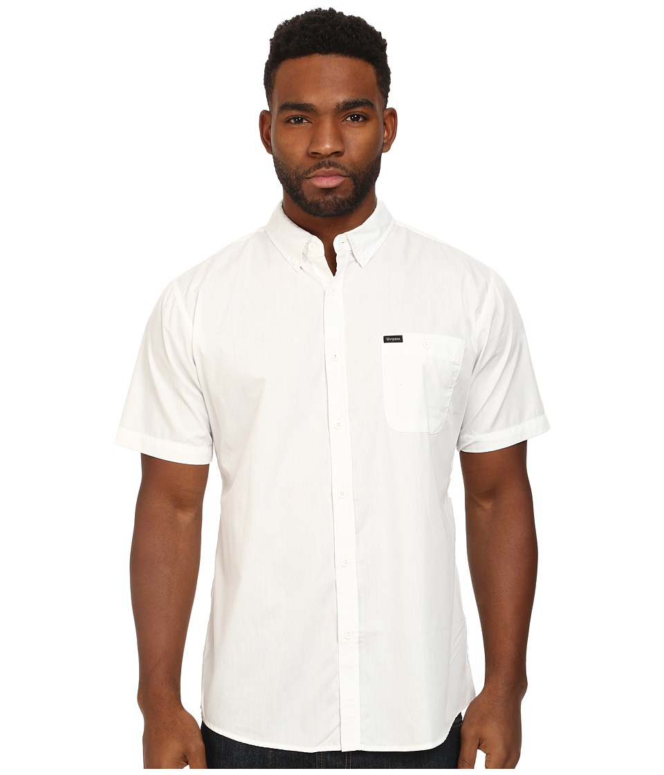 Brixton - Central S/S Woven (White) Men's Short Sleeve Button Up