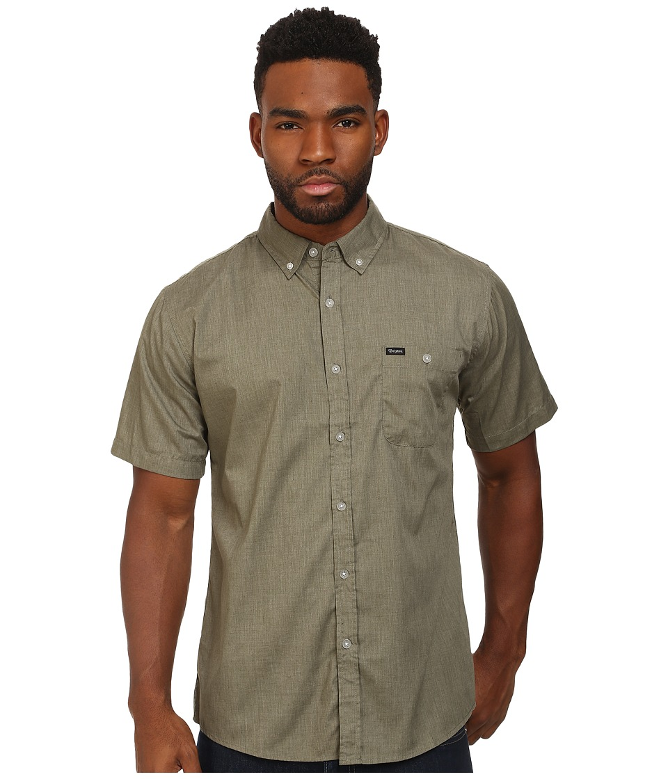 Brixton - Central S/S Woven (Heather Sage 1) Men's Short Sleeve Button Up