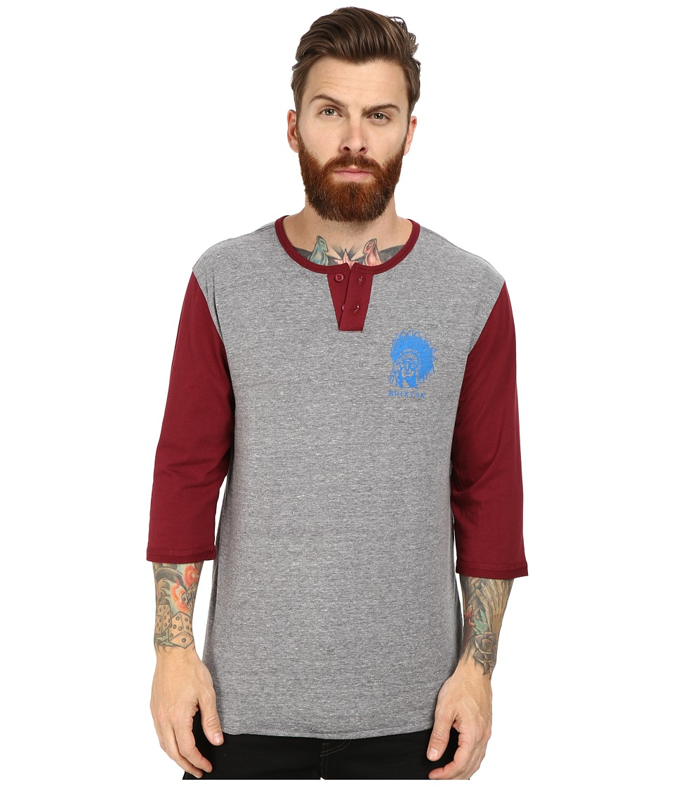 Brixton - Crow 3/4 Sleeve Henley (Heather Grey/Maroon) Men