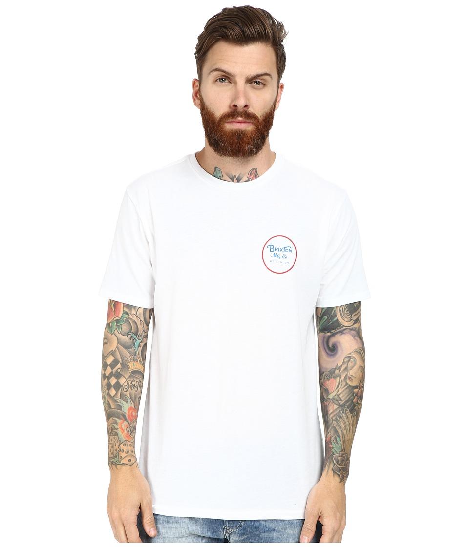Brixton - Wheeler Short Sleeve Prem Tee (White/Red) Men's T Shirt