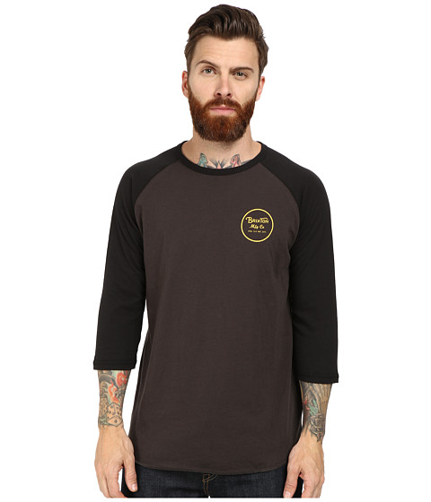 Brixton - Wheeler 3/4 Sleeve Tee (Black/Black) Men's Long Sleeve Pullover