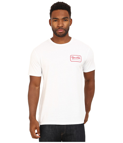 Brixton - Grade S/S Prem Tee (White/Red) Men's Short Sleeve Pullover