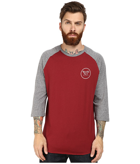 Brixton - Wheeler 3/4 Sleeve Tee (Burgundy/Heather Grey) Men's Long Sleeve Pullover