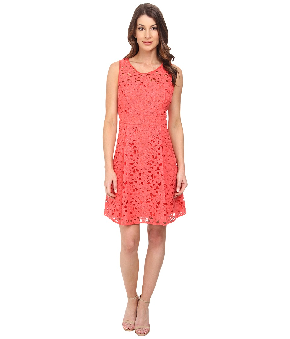 Jessica Simpson - Popover Laser Cut (Coral) Women's Dress