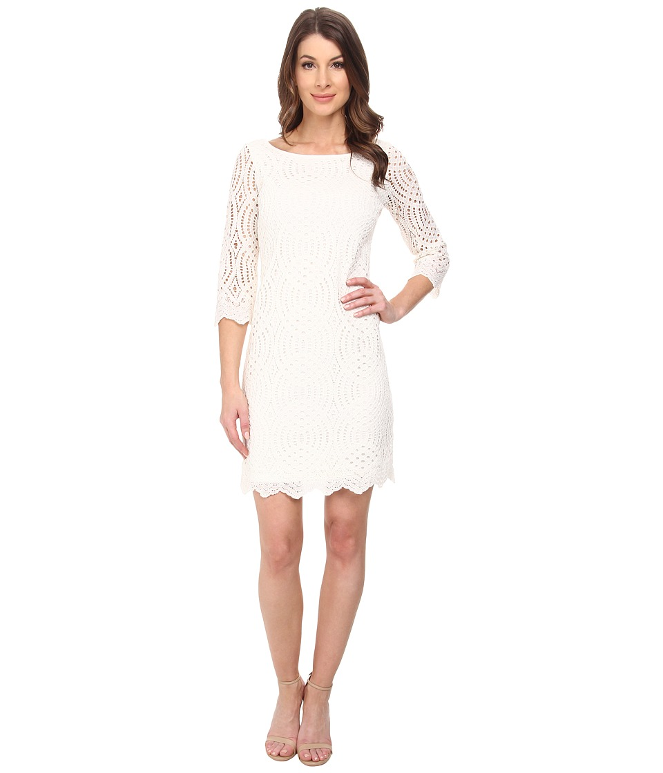 Jessica Simpson - 3/4 Sleeve Lace Dress (Ivory) Women's Dress