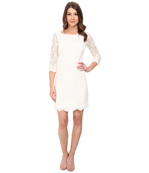 Jessica Simpson - 3/4 Sleeve Lace Dress (Ivory) Women