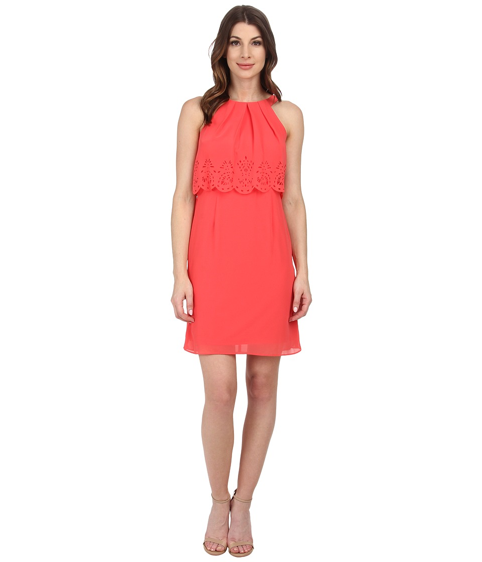 Jessica Simpson - Lace Fit N Flare (Coral) Women's Dress