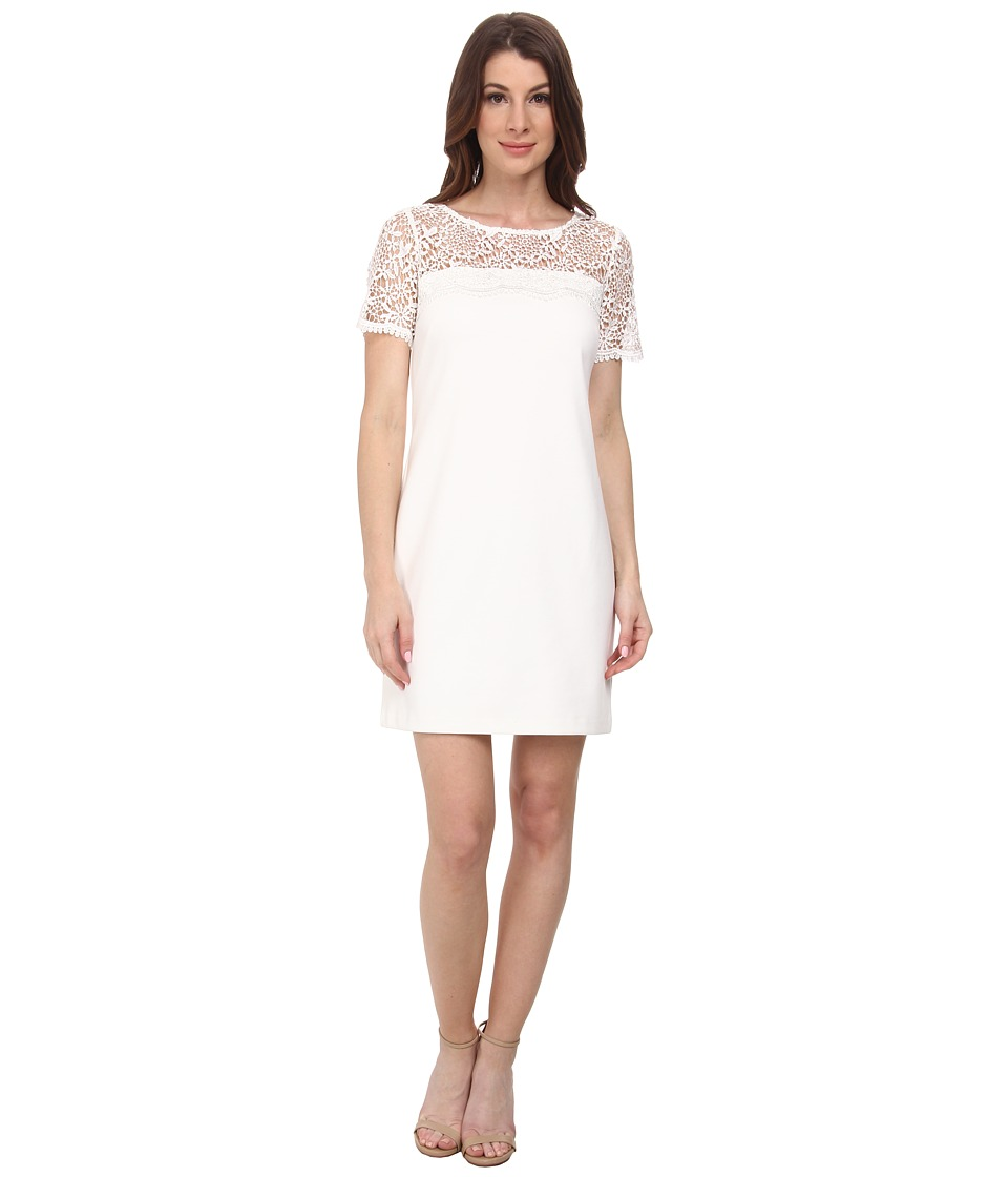 Jessica Simpson Short Sleeve Lace Knit Combo Dress (Ivory) Women