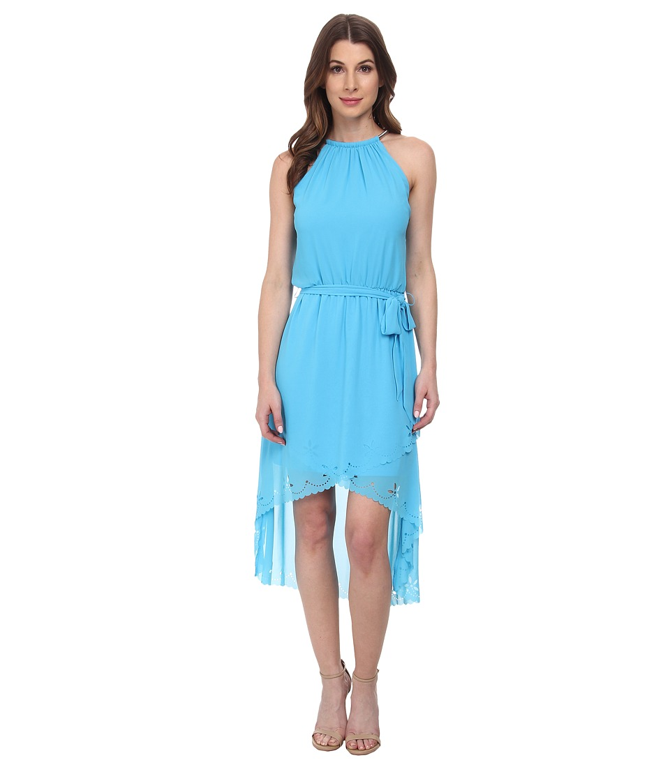 Jessica Simpson - Chiffon Hi-Low Maxi w/ Bungee Neck (Sea Blue) Women