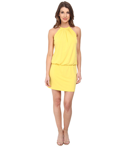 Jessica Simpson - Bungee Necklace Printed Dress (Yellow) Women