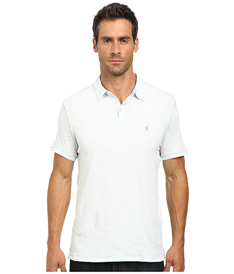 John Varvatos Star U.S.A. - Soft Collar Peace Polo with Contrast Stitching and Peace Sign Chest Embroidery K1381R2B (Blue Ice) Men