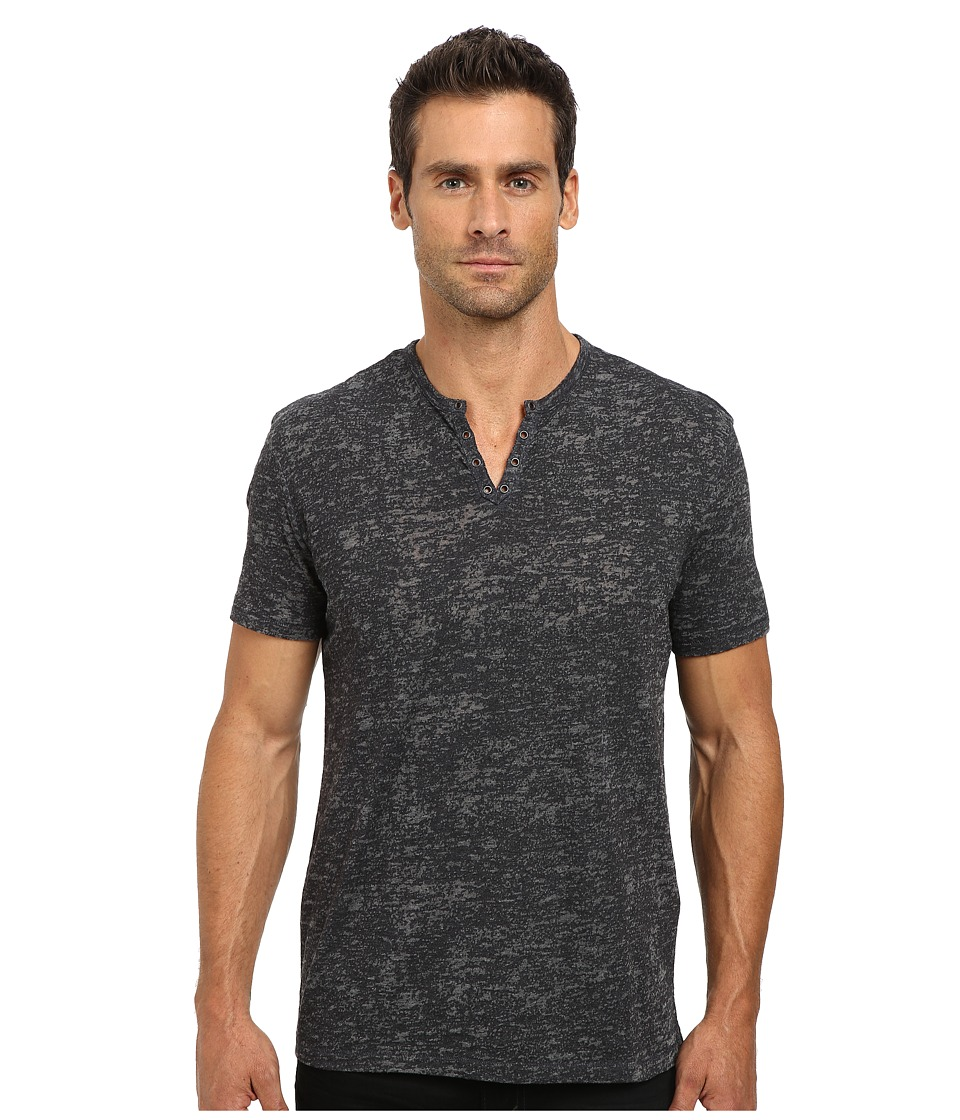 John Varvatos Star U.S.A. - Short Sleeve Crew Neck Knit Eylelet Placket Detail K1213R2B (Night Sky) Men