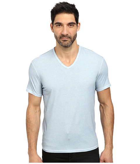 John Varvatos Star U.S.A. - Basic Short Sleeve V-Neck Knit with Vertical Pickstitch K677R2B (Ocean) Men