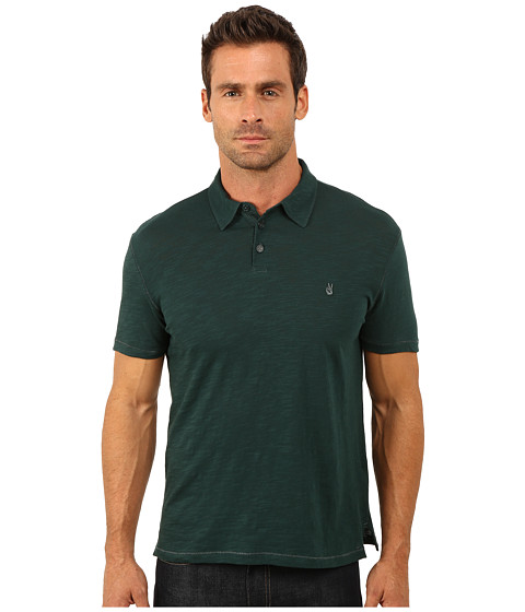 John Varvatos Star U.S.A. - Soft Collar Peace Polo with Contrast Stitching and Peace Sign Chest Embroidery K1381R3B (Deep Sea) Men's Clothing